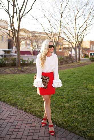 cortinsession blogger blouse dress skirt shoes jewels bag sunglasses red skirt bell sleeves sandals
