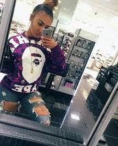 shirt,bape,sweater,purple,top,bathingape