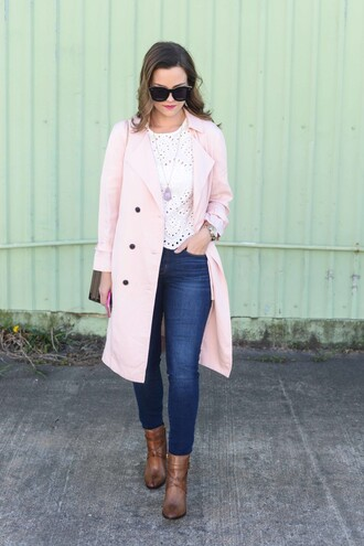 live more beautifully blogger coat top shoes sunglasses jeans jewels make-up bag