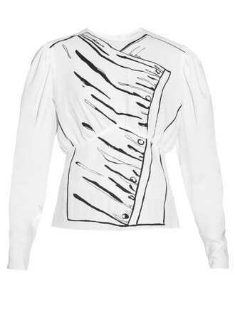 blouse white print top