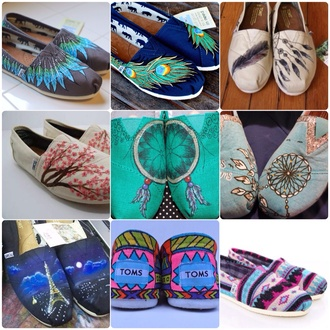 shoes flats toms aztec colorful feathers peacock feathers dreamcatcher paris starry night love more cherry blossom casual