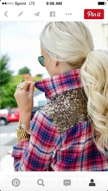 shirt gold sparkles plaid shirt