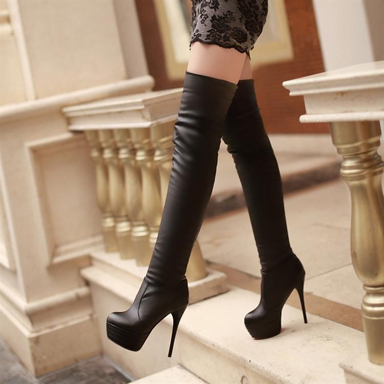 High Heel Thigh High Boots - Cr Boot