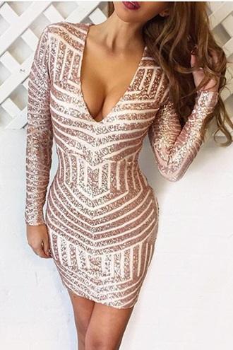 dress rose gold sequin dress bodycon dress