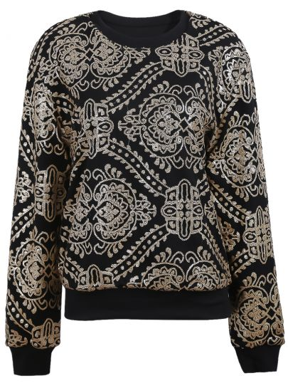 Black with Gold Sequined Embellished Geo Pattern Sweatshirt - Sheinside.com