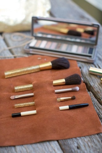 make-up leather makeup brushes beauty organizer