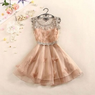 dress prom dress vintage flower embroidery pale pink dress butterfly pink pale sparkle