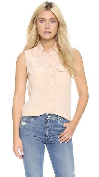 blouse sleeveless nude top