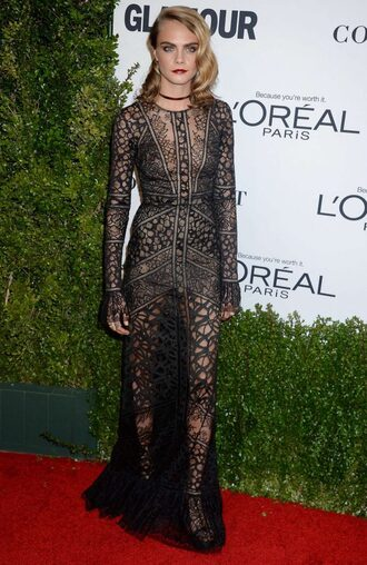 dress gown prom dress wedding dress cara delevingne black dress lace dress see through dress embroidered dress