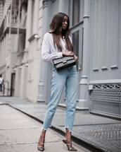 shirt,tumblr,white shirt,denim,jeans,blue jeans,cropped jeans,high heels,heels,bag,black bag,shoes,mules