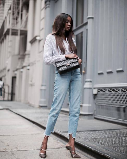 shirt tumblr white shirt denim jeans blue jeans cropped jeans high heels heels bag black bag shoes mules