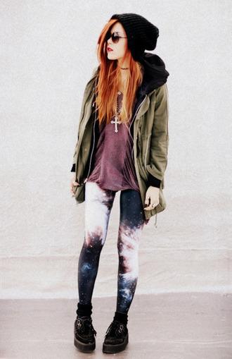 coat grunge punk tumblr green leggings purple beanie black galaxy print cross necklace pants hat top