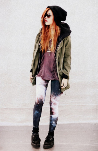 black pants cross necklace purple coat grunge punk tumblr green leggings beanie galaxy hat