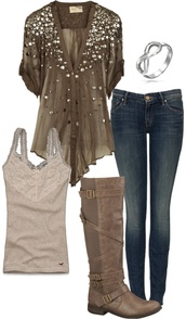 shirt,sparkle,blouse,flowy,stud,studded,rolled sleeves,top,brown,green,v neck,short sleeved,studded blouse,jeans,pants,olive shirt,tank top,boots,buckle boots,bracelets,infinity bracelet,loose fit top,clothes,outfit,button up blouse,short sleeve shirt,blingy,fashion