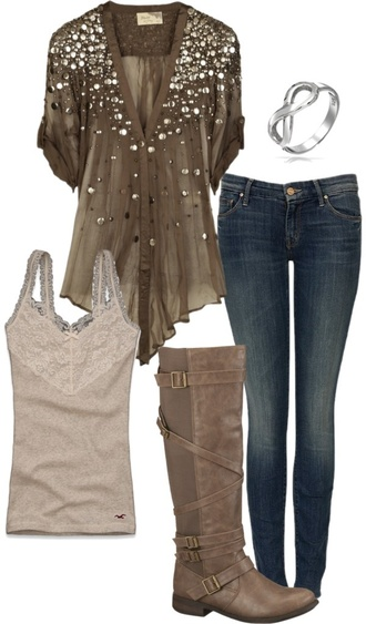 shirt sparkle blouse flowy stud studded rolled sleeves top brown green v neck short sleeved studded blouse jeans pants olive shirt tank top boots buckle boots bracelets infinity bracelet loose fit top clothes outfit button up blouse short sleeve shirt blingy fashion