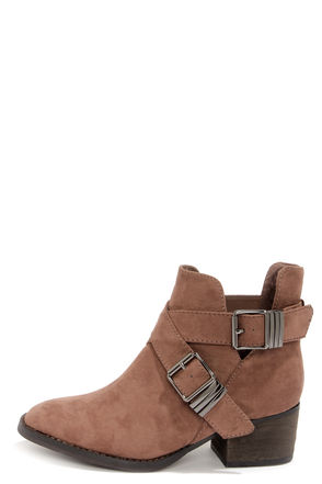 Cute Taupe Boots - Cutout Boots - Ankle Boots - $38.00