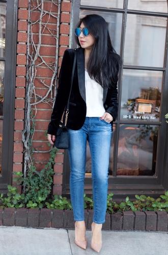 posh classy mom – a lifestyle blog by sheree blogger top jacket jeans bag shoes blue sunglasses blazer black blazer shoulder bag pumps high heel pumps spring outfits