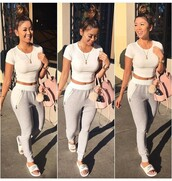 pants,liane v,joggers,white top,white crop tops,grey sweatpants,pink bag,casual,shirt,crop tops,white,grey,cute outfits