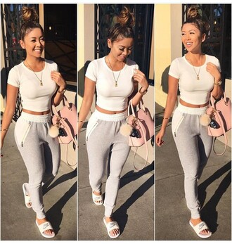 pants liane v joggers white top white crop tops grey sweatpants pink bag casual shirt crop tops white grey cute outfits
