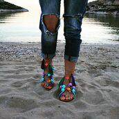 shoes,marbe unique,flats,leather sandal,handmade sandal,pom pom sandal,boho chic,summer shoes,bohemian,boho,color sandal,lace up sandal,tie up sandal,shoebox,marbenitas,greek sandal,ancient alabaster statue,unique design