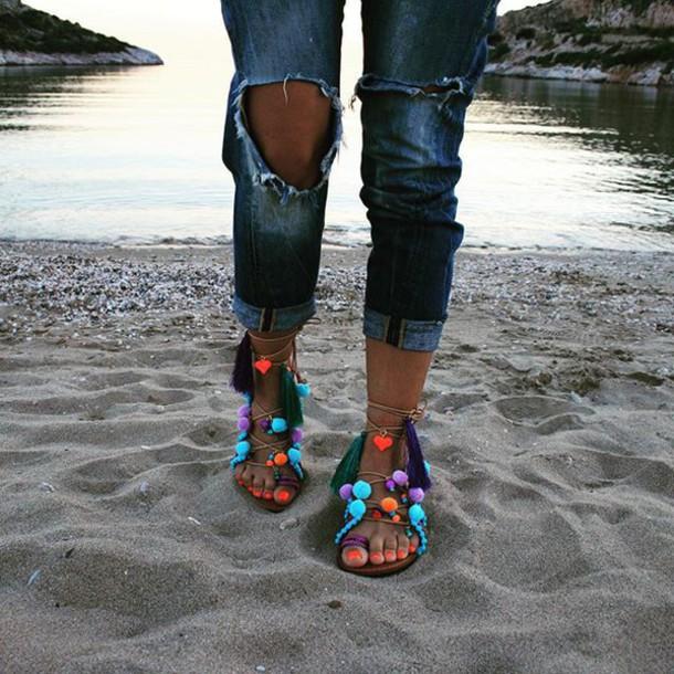 c5817bef0f1a shoes marbe unique flats leather sandal handmade sandal pom pom sandal boho  chic summer shoes bohemian
