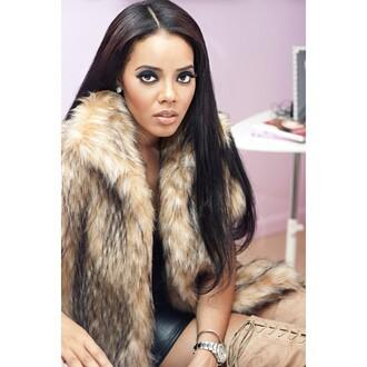 jacket coat faux fur jacket angela simmons