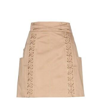 miniskirt cotton beige skirt