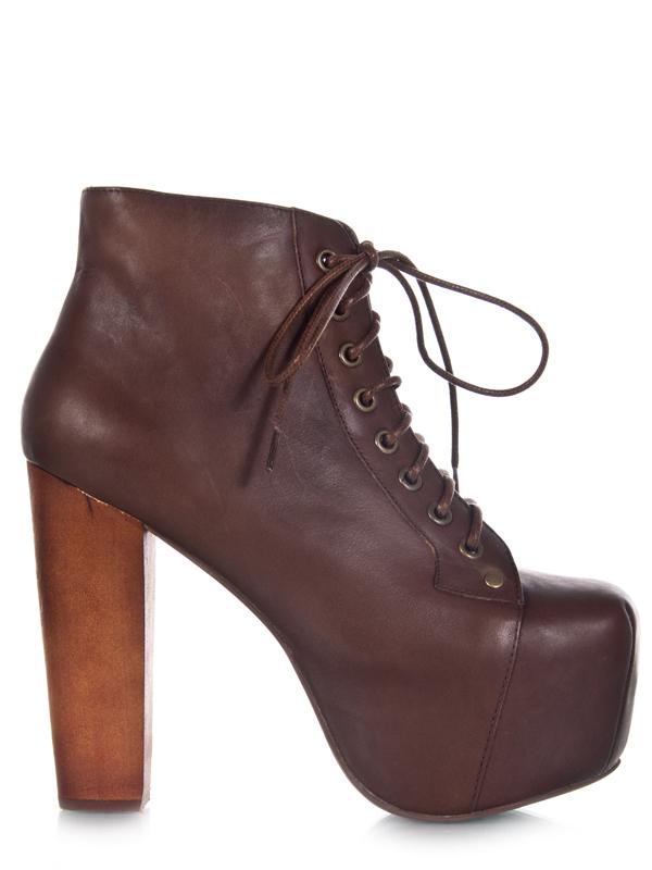 Jeffrey campbell lita brown distressed platform heel pump leather sz women new