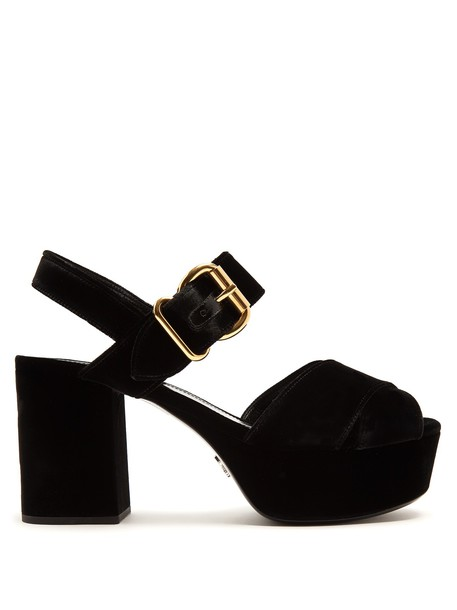 Prada cross sandals platform sandals velvet black shoes