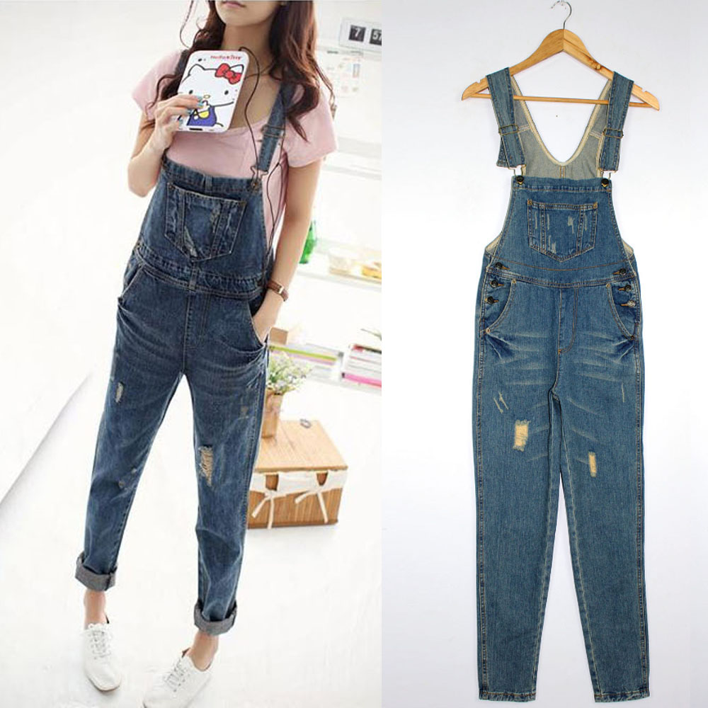 M Women Denim Pants Loose Hole Overalls Jumpsuit Pants Hip Hop ...
