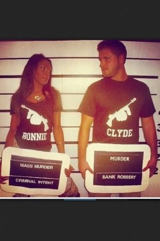 shirt bonnie and clyde black black graphic t-shirt