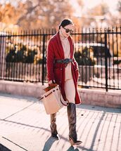 shoes,fendi boots,heel boots,knee high boots,belt,bag,pants,red sweater,white sweater
