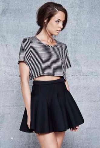 black skirt blouse circle skirt stripes stripped shirt circle skirt tool poofy