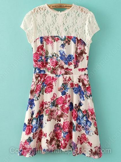 Multicolor Scoop Short Sleeve Floral Print Dress - HandpickLook.com