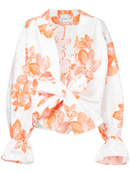 Bambah shirt kimono floral kimono women floral white silk top