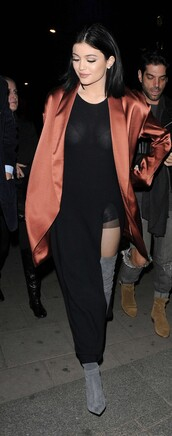 coat,dress,boots,knee high boots,over the knee boots,kylie jenner,shoes