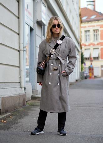 coat grey coat black sneakers tumblr oversized oversized coat sneakers sunglasses crossbody bag