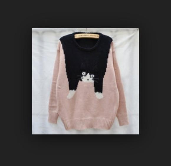 cute bernard lafond cats pastel pink funny sweaters