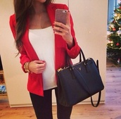 bag,black,blazer,red,jacket,tank top,mickaelkors,coat,top,classy