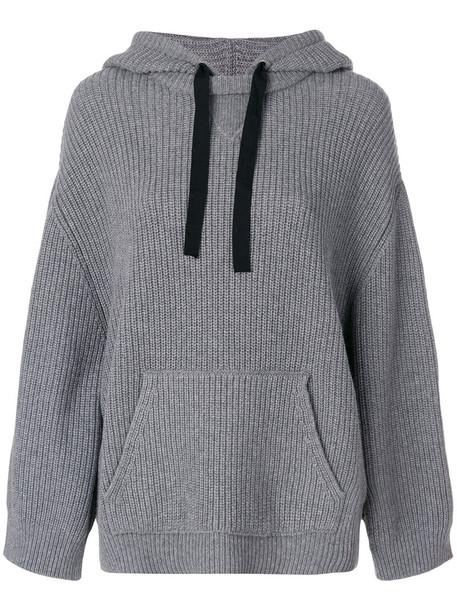 hoodie women cotton wool knit grey sweater