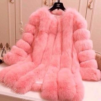 coat fur fur coat pink coat