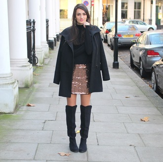 peexo blogger skirt glitter knee high boots