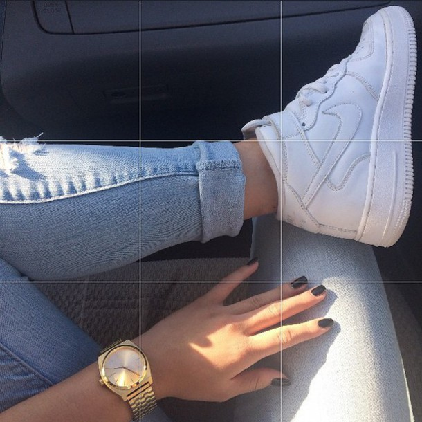 jewels gold watch shoes nike shoes nike denim jeans