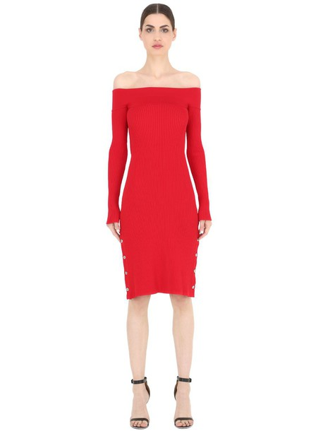 CAMEO Off Shoulder Knit Dress W/ Buttons in red - Wheretoget