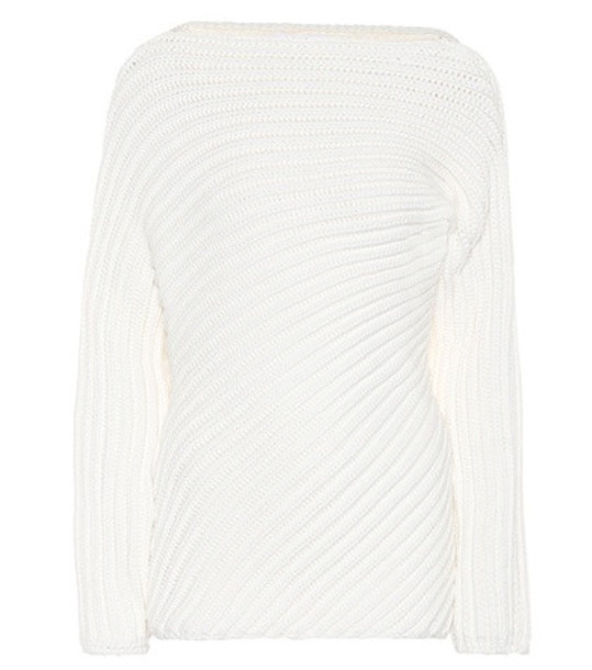 Chloé Ribbed wool-blend sweater in white