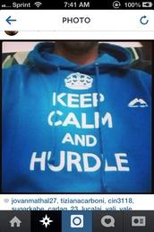sweater,blue,sweatshirt,hurdles,keep calm
