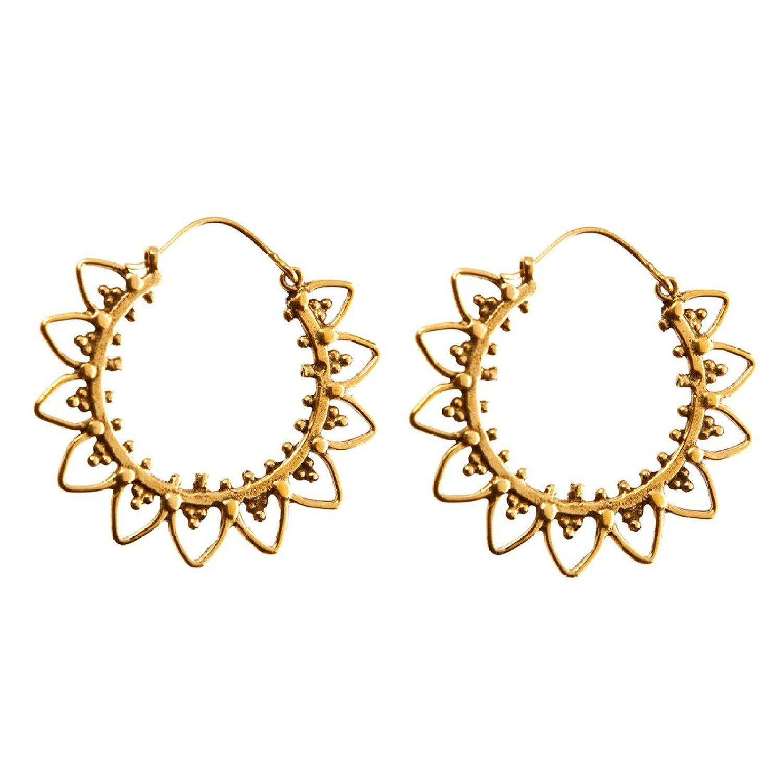 Amazon.com: 81stgeneration women's brass gold tone flower ethnic circle tribal hoop earrings: jewelry