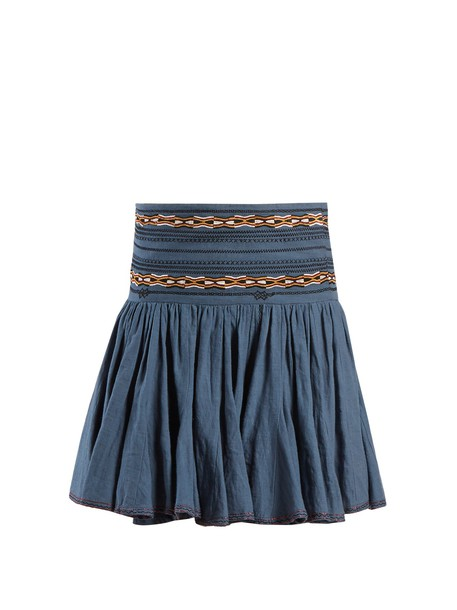 Isabel Marant etoile skirt embroidered cotton blue
