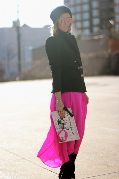 the courtney kerr jacket skirt shoes hat bag sunglasses jewels