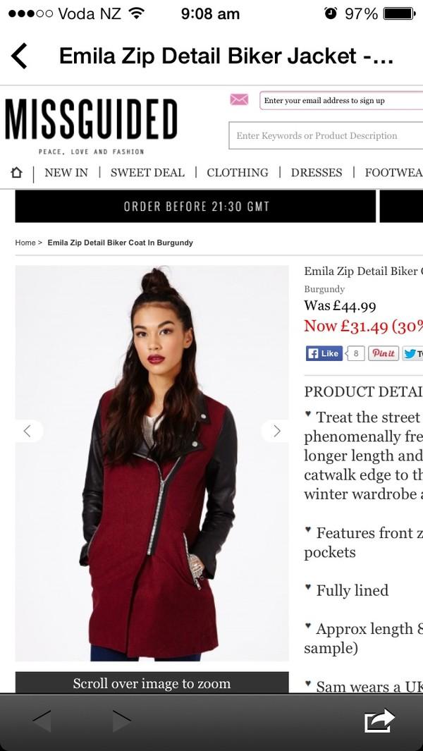 coat burgundy leather missguided jacket shewearsfashion